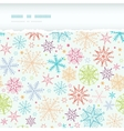 Colorful doodle snowflakes horizontal torn frame vector