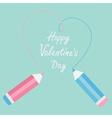 Two pencils drawing big dash heart happy valentine vector