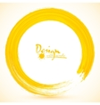 Yellow paintbrush circle frame vector