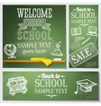 Welcome back to school messages on the chalkboard vector