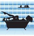 Girl take bath vector