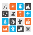 Silhouette christmas and new year icons vector