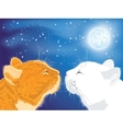 Two beloved cats on the night sky background vector