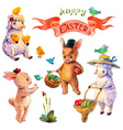 Easter watercolor collection with lamb rabbit vector