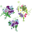 Set of holidays bouquets with chamomiles pansies vector