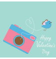 Photo camera with flying bird happy valentines day vector