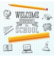 Welcome back to school message on paper with vector