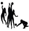 Woman play volleyball silhouette vector