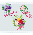 Set of holidays bouquets with sakura roses pansies vector