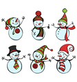 Six snowmen isolated on white background vector
