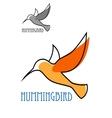 Flying orange hummingbird in outline sketch style vector