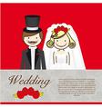 Wedding card wedding couple with wedding dresses vector