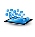 Blue tablet application icons vector