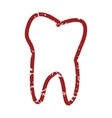 Red grunge tooth logo vector