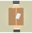 Hands to receive a parcel vector