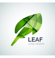 Green eco leaves logo made of color pieces vector