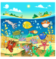 Family of funny fish in the sea vector