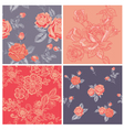 Seamless background collection - vintage flowers vector
