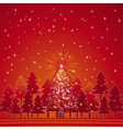 Christmas card with forest of pine and snowflakes vector