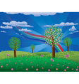 Blooming tree on grass field vector