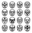 Lucha libre mexican wrestling masks - line icons vector