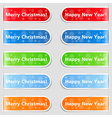 Happy new year and christmas tabs vector