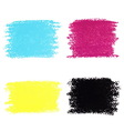 Set of cmyk pastel crayon spots isolated on white vector