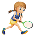 A young girl playing tennis vector