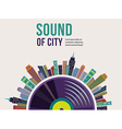 Music and city landscape background vector