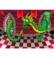 Inside the castle with dragon vector