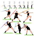 Javelin silhouettes athletes set vector