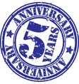 Grunge 5 years anniversary rubber stamp vector