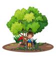 A boy with a wheelchair near the tree vector
