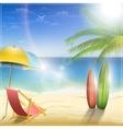 Sunny ocean coast with palm vector