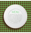 White classic plate on blue checkered tablecloth vector