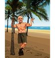 Cartoon smiling bald man in shorts on a sandy vector