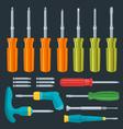 Flat various screwdrivers set vector