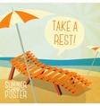 Cute summer poster - sun bathe on the chaise vector