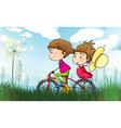 A couple biking vector