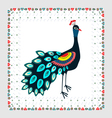 Peacock embroidery vector