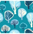 Seamless pattern with hand drawn decorative trees vector
