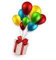 Gift box on colorful balloons vector