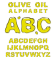 Olive oil alphabet letters vector