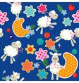 Seamless pattern - sweet dreams - sheep toys stars vector