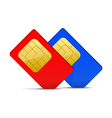 Two sim card red and blue vector