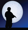 Soldier in the moonlight color vector