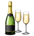 Champagne bottle with glasses vector
