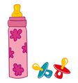 Baby bottle and pacifier vector