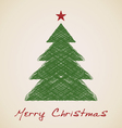 Christmas sketch fir tree vector
