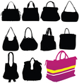 Woman fashion bag black silhouette vector